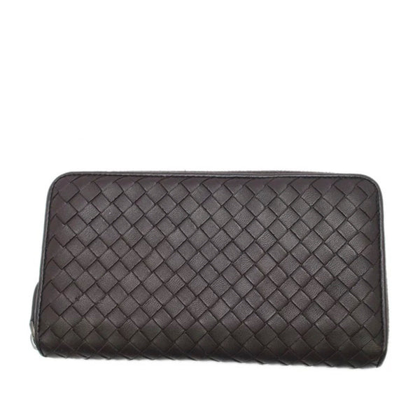 Brown Bottega Veneta Intrecciato Leather Zip Around Wallet