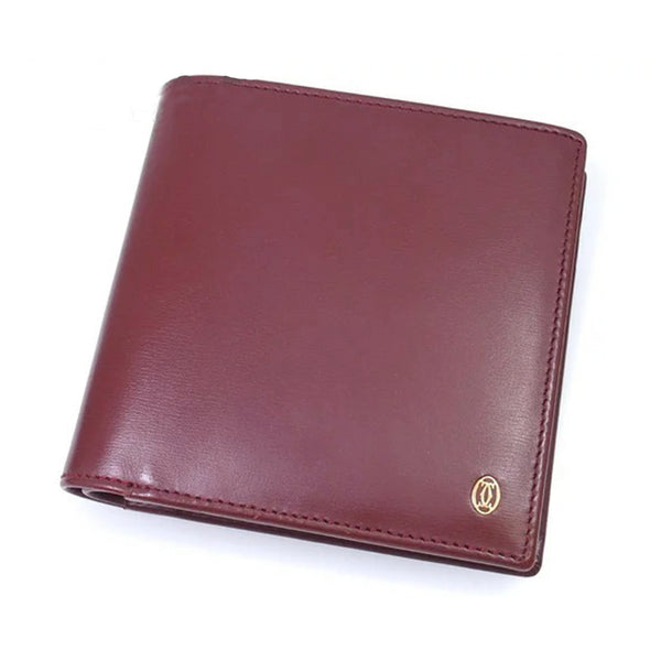 Red Cartier Leather Bi-Fold Wallet