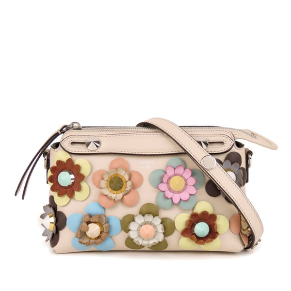 Beige Fendi Flowerland By The Way Leather Crossbody Bag