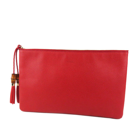 Red Gucci Bamboo Leather Clutch Bag