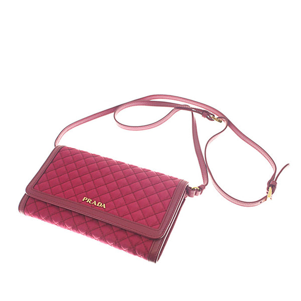 Burgundy Prada Impuntu Tessuto Wallet on Strap