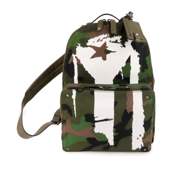Green Valentino Camouflage Canvas Backpack Bag