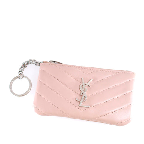 Pink YSL Monogram Leather Coin Pouch