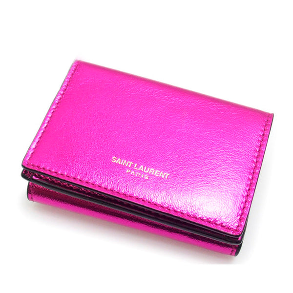 Pink YSL Leather Small Wallet