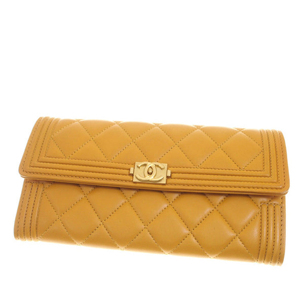 Yellow Chanel Matelasse Boy Lambskin Leather Wallet