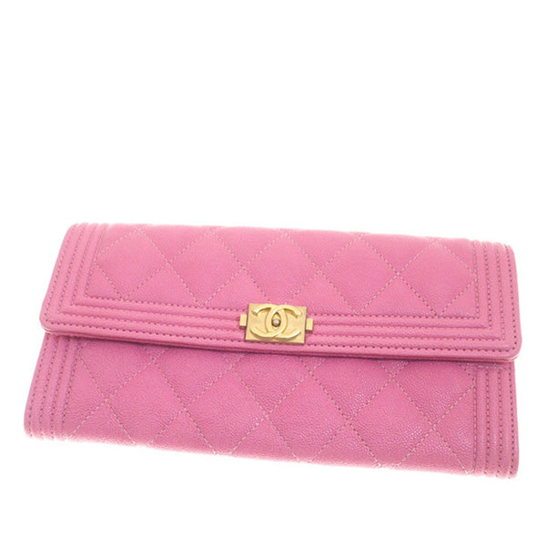 Pink Chanel Boy Caviar Leather Wallet