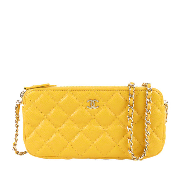 Yellow Chanel CC Caviar Leather Wallet on Chain