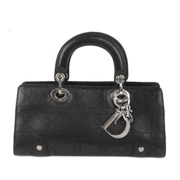 Black Dior Cannage Lady Dior East West Leather Handbag Bag
