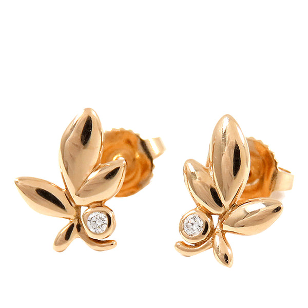 Gold Tiffany 18K Olive Leaf Diamond Earrings