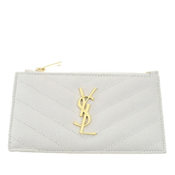 White YSL Leather Card Case