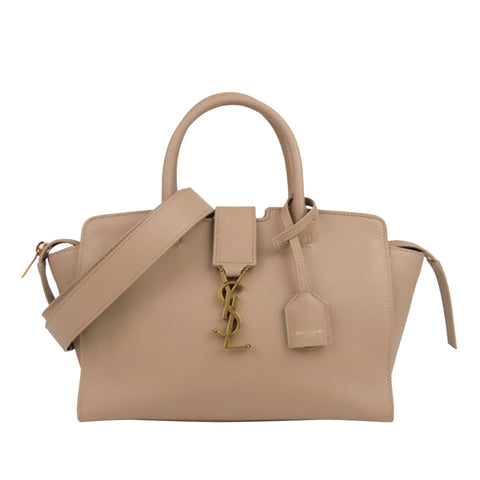 Beige YSL Baby Downtown Cabas Leather Satchel Bag