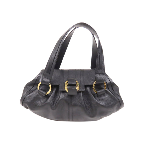Black Bvlgari Chandra Leather Shoulder Bag