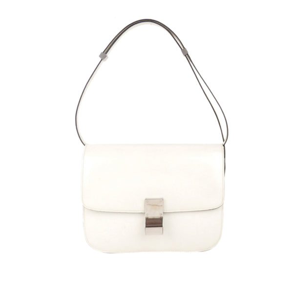 White Celine Medium Classic Box Leather Shoulder Bag