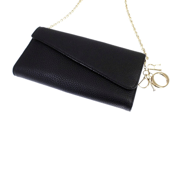 Black Dior Diorissimo Leather Wallet on Chain