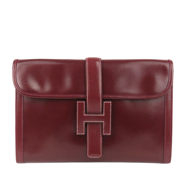 Red Hermes Jige PM Leather Clutch Bag