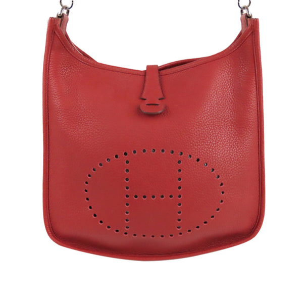 Red Hermes Clemence Evelyne III PM Bag