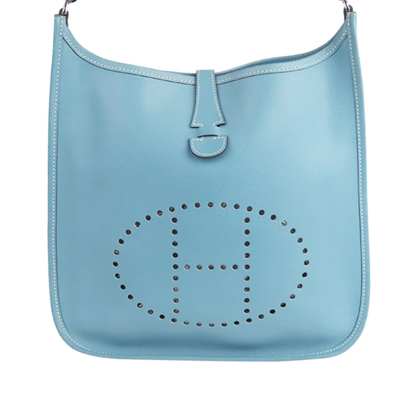 Blue Hermes Epsom Evelyne III PM Bag