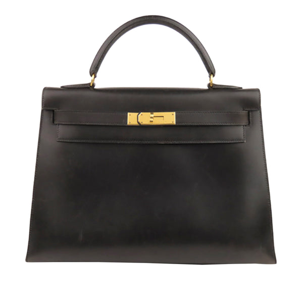 Black Hermes Box Calf Kelly 32 Bag