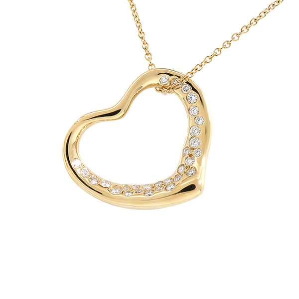 Gold Tiffany Open Heart Diamond Necklace