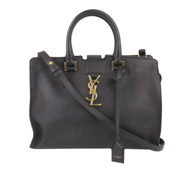 Black YSL Cabas Chyc Leather Satchel Bag