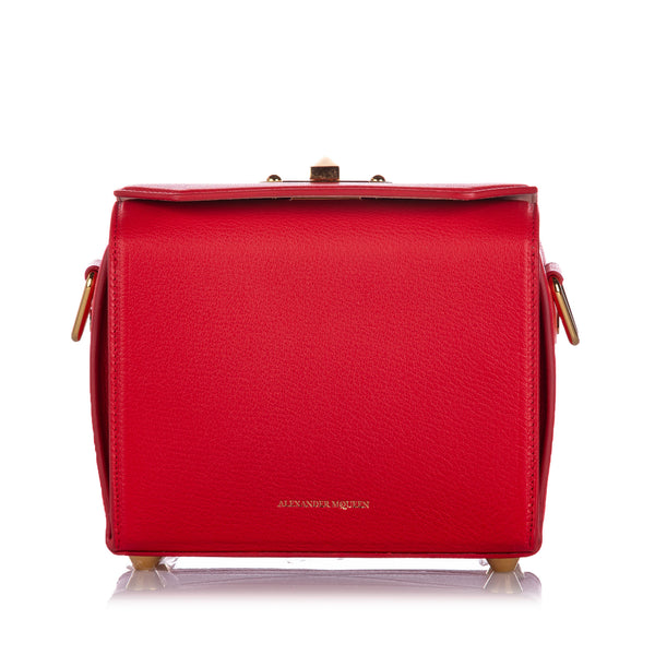 Red Alexander McQueen Box 19 Leather Crossbody Bag