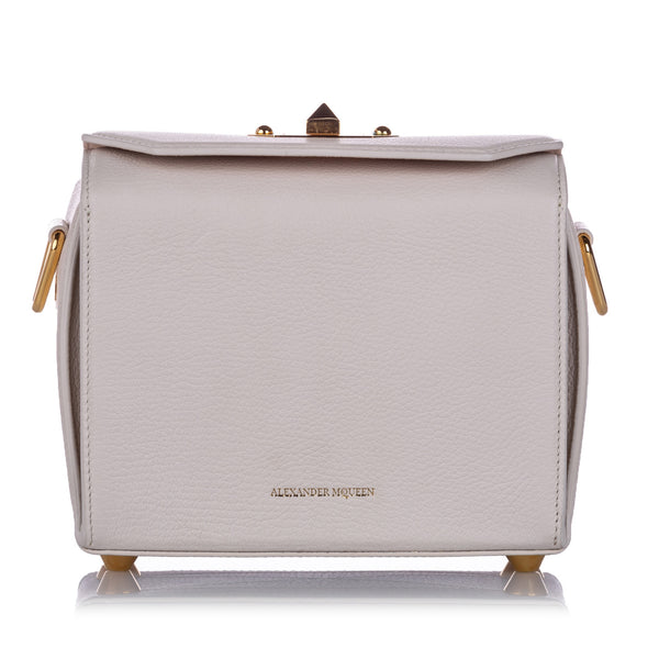 White Alexander McQueen Box 19 Leather Crossbody Bag