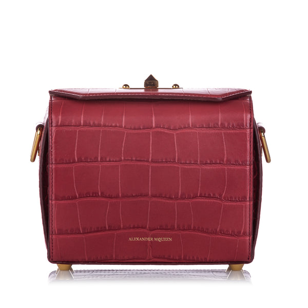 Red Alexander McQueen Box 19 Embossed Leather Crossbody Bag