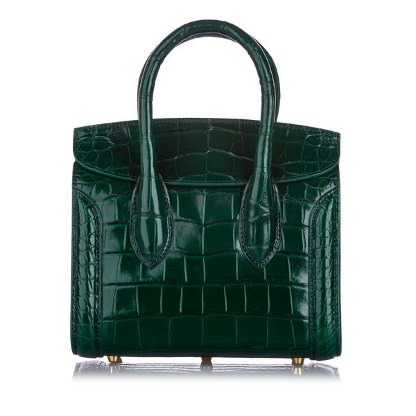 Green Alexander McQueen Heroine 21 Embossed Leather Satchel Bag