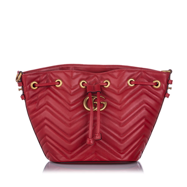 Red Gucci GG Marmont Bucket Bag