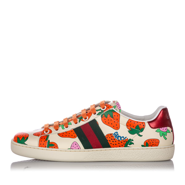 White Gucci Web Strawberry Ace Leather Sneaker
