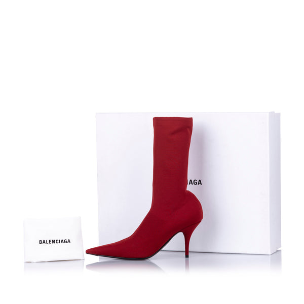 Red Balenciaga Knife Jersey Crepe Bootie