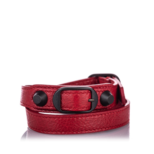 Red Balenciaga Classic Arena Wrap Leather Bracelet