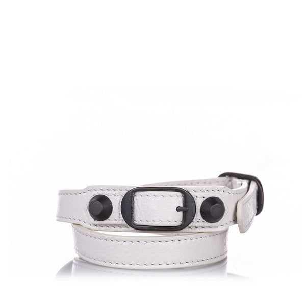 White Balenciaga Classic Arena Wrap Leather Bracelet