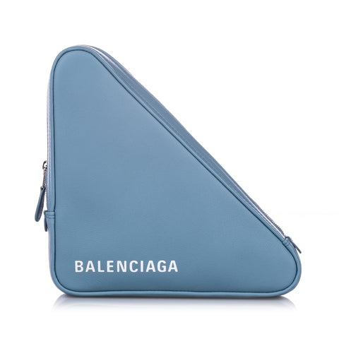 Blue Balenciaga M Triangle Leather Pochette