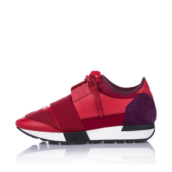Red Balenciaga Race Runner Monochrome Nylon Sneaker