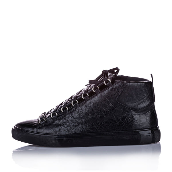 Black Balenciaga Classic Arena High Top Leather Sneaker- Mens