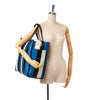 Blue Balenciaga M Bazar Shopper Lambskin Leather Tote Bag