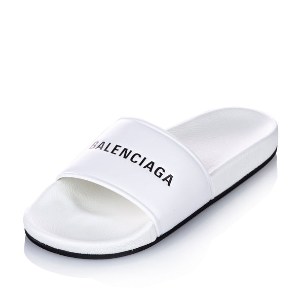 White Balenciaga Pool Sandals