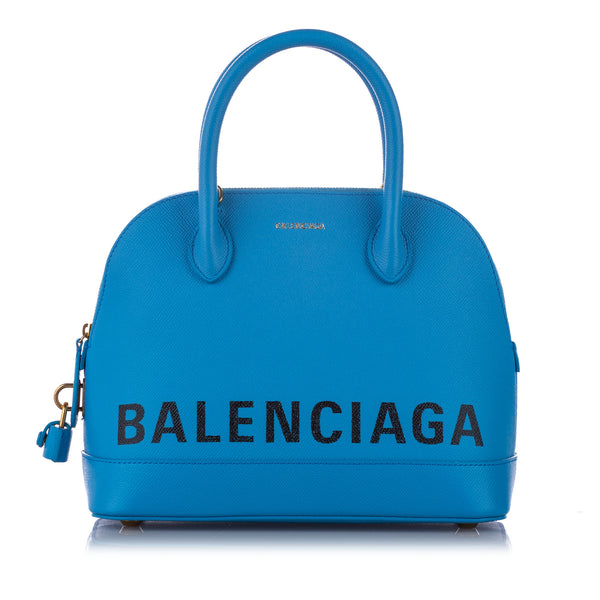 Blue Balenciaga Ville Leather Satchel Bag
