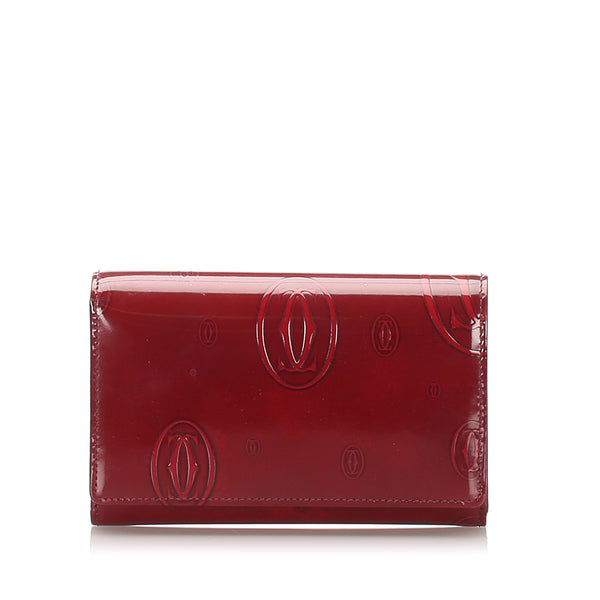 Red Cartier Patent Leather Happy Birthday Wallet