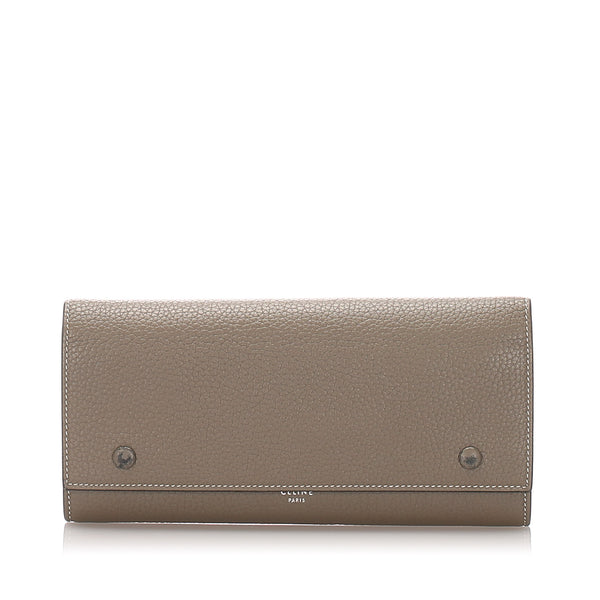 Brown Celine Leather Continental Wallet
