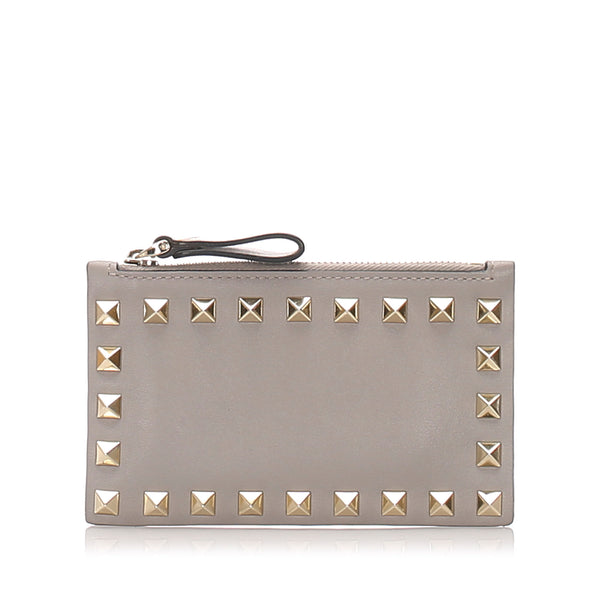 Gray Valentino Rockstud Coin Pouch