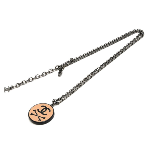 Silver Chanel CC Skull Pendant Necklace