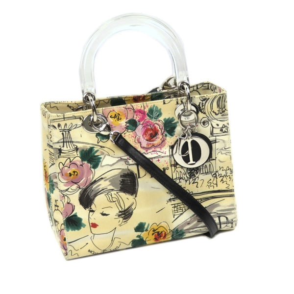 Yellow Dior Lady Dior Printed Canvas Satchel Bag