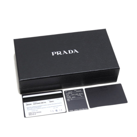 Black Prada Saffiano Long Wallet