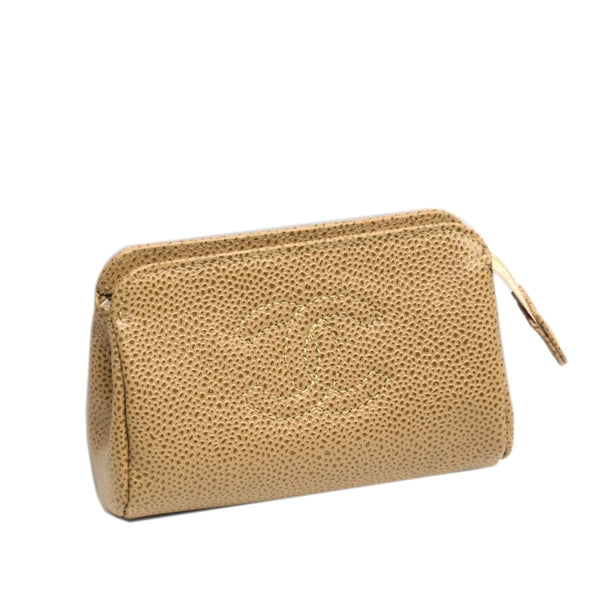 Brown Chanel CC Caviar Leather Pouch