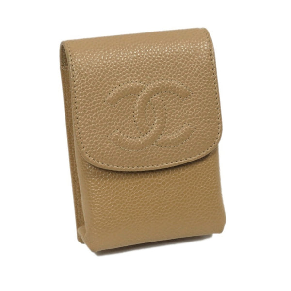 Brown Chanel CC Caviar Cigarette Case
