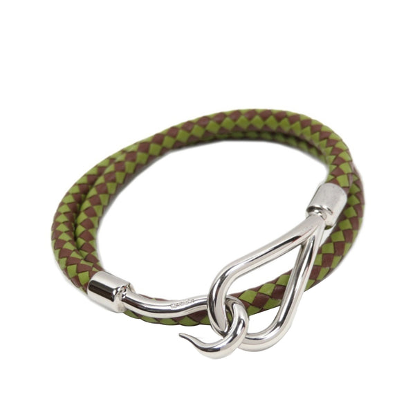 Green Hermes Braided Bangle Leather Bracelet