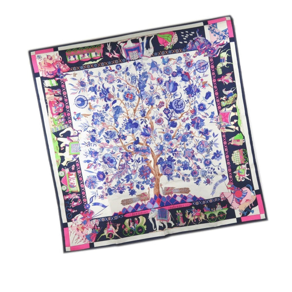 Blue Hermes Fantaisies Indiennes Silk Scarf
