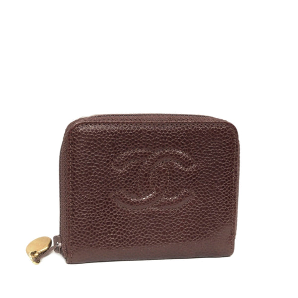 Red Chanel CC Caviar Leather Coin Pouch